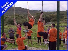 A Team doing some team building activities at westport adventure park mayo Ireland